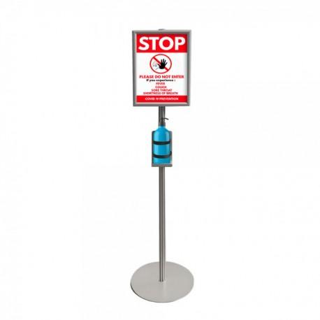 Stojak na płyn do dezynfekcji z ramką A3 - 150 cm wys.